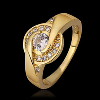 Wholesale Retro style diamond ring K yellow Gold Plated Emerald Swarovski element Ring Elegant Jewelry CZ Diamond Austrian Crystal