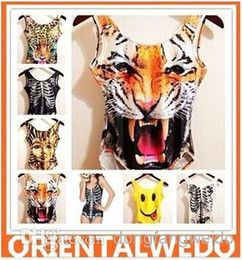 Wholesale 2014 New women men animal Leopard tiger jumpsuits cat pug panda print funny D t shirts Monroe sexy Naked d top jumpsuits tees swimwear
