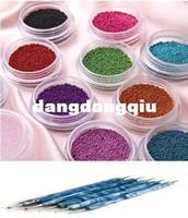 Wholesale Blue Way Double Dotting Marbleizing Pen Tool Fashion Caviar Nails Art New Colors plastic Beads Manicures Nail Art Set407