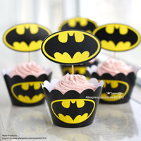 Wholesale Batman cupcake wrappers toppers picks decorations for boys kids birthday party favors supplies comic superhero