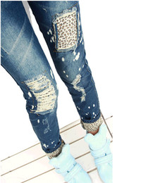 Wholesale 2014 New Fashion Women Girl Leopard Slim Pencil Jeans Pants Trousers GL Sale