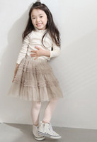 Wholesale Hot New Arrival Princess Girls Skirts Beautiful Pink Beige Lace Gauze Veil Mesh Elastic Layer Tutu Skirt Summer Kids Kid Clothes J0666