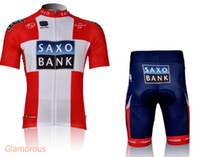 Short Anti Bacterial Men Tour De France Saxo Bank Team Cycling Jersey Set White Red Tops Blue Padded Shorts Polyester Lycra Quick Dry Men Cycling Clothing