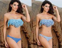 Women cheap panties - Upgraded Tassel and Blue Panties Bikini Set Swimwear Swimsuit Bathing suit Women Cheap B4212