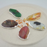 Pendant Necklaces agate slice - 10pcs Agate slice Pendant Faceted Silver Plated edge fine gem stone Pendant