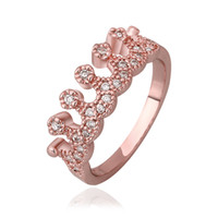 Wholesale Exquisite diamond crown ring Austrian crystal ring K Rose gold Plated Use Swarovski element Crown Rings