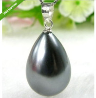 beautiful twisted - Beautiful mm Water drops black Shell Pearl Pendant