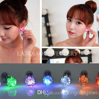 Wholesale pc pair Night Light Diamond LED Earrings Bar Stage Dance Fashion ear Stud Earring Glow in Dark Button Ear for wedding Par