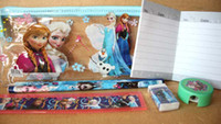 Plastic   DHL Wholesale 200 set 7pcs Frozen pencil Stationery gift pencil case ruler sticker Fashion Popular Student Gift