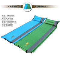 Wholesale Self Inflating Air Mattress Bed Splicing Moisture Proof Camping Outdoor Noon break Sleeping Pad Mat With Pillow Colors W1041