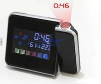 Digital Alarm Clocks 150 mm New Creative 1Pcs Black LCD Digital Projection Alarm Clock Weather Calendar Forecast Station Humidity Free Shipping E0031