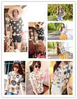 Crew Neck Batwing/Dolman Sleeve Short Sleeve Free shipping S-XXL Women Colorful style Chiffon blouse shirt lady fashion Batwing short sleeve Loose Blouse