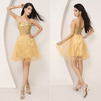 Model Pictures Sequined Sweetheart Real Image Gold Sequined Tulle Homecoming Short Prom Dresses Mini Sweetheart Cocktail Party Gowns Ready to Wear Cheap 2014 2015 Under $50