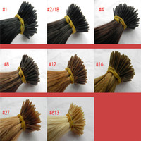 Wholesale Top Quality Color B Peruvian Remy Italian Kertain I Tip Hair Extension1g strand strands Pack Cold Fusion Stick Tip Hair Extension