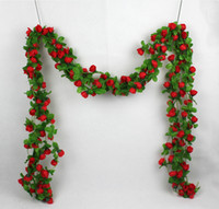 artificial silk flowers for weddings - Artificial Rose Silk Flower Green Leaf Vine Garland Wall Party Decor For your Weddings party