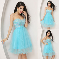 Model Pictures Sequined Sweetheart Real Image Sky Blue Crystal Tulle Homecoming Short Prom Dresses Mini Sweetheart Cocktail Party Gowns Ready to Wear Cheap 2014 2015 Under $50