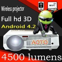 Wholesale 4500lumens P D Led android Projector WIFI Projectors beamer proyector projektor TV support Bridgelux W high power LED