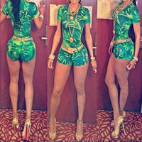 Wholesale Sexy Green Leaves Printed Jumpsuit Shorts Suit European and American Fashion Club Dress With Zipper Bandage Bodycon Dresses Evening Dresses