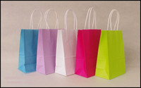 Paper Hand Length Handle Yes Free shipping 40pcs lot 21cm*15cm*8cm kraft paper gift bag, , Festival gift bags, Paper bag with handles, wholesale