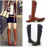 Knee Boots ladies leather boots - Hollow out flat knee high winter boots women ladies boots sexy over the knee boots for women genuine leather shoes long boots