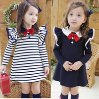 Spring / Autumn school clothes - 2014 Children Girl Back To School Clothing Fall The New Fly Sleeve Pure Cotton Kids Dresses Baby Dress Girl Bow Tie Dresses GX638