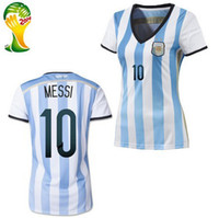 Cheap Womens MESSI Jerseys Champion Argentina 2014 World Cup Soccer Jerseys Top Thailand Quality Female Soccer Shirts National Team Football Kits