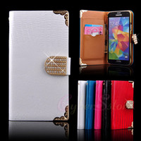 Wholesale Galaxy S5 Case Fashion Luxury Diamond Buckle Lizard Leather Flip Wallet Case Cover Pouch Credit Card Holder For Samsung Galaxy S5 S i9600