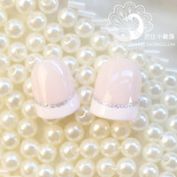 Full Natural Tips Oval Nail Tips BX00013Celebrate Triple Crown shipping ! Beautiful bride pink fake nails nail glue boxed French A silver line 24