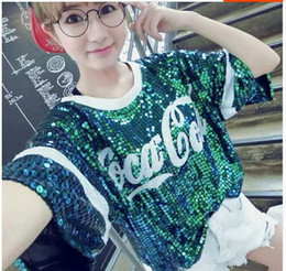 Wholesale 2014 new Ds costumes jazz singer stage wear Personality loose sequins T shirt