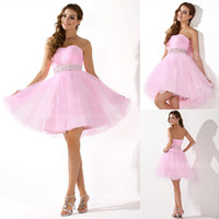 Real Photos tulle Strapless Real Sample Charming Strapless Pink Tulle Homecoming Short Prom Dresses Beaded Sash Cocktail Party Gowns Ready to Wear Cheap 2014 Under $50
