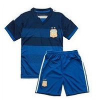 Wholesale 2014 World Cup Champion Argentina Soccer Jerseys for Kids High Quality Youth Soccer Wear Cheap Toddler Soccer Uniforms Children Football Kit