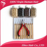 achat en gros de pince à cheveux plume-Feather Hair Extensions poignée Kit outils Pinces Hook4000Pcs Micro Silicone Lien Perles FET801