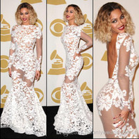 Reference Images beyonce white - 2014 Sexy Sheer See Through Beyonce Grammy Awards Long Sleeve Bateau Mermaid Backless Lace Evening Dresses Celebrity Pageant Gowns BO6050