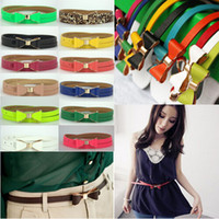 Wholesale 10 Fashion Women Candy Color Big Bowknot PU Leather Thin Skinny Waistband Belt CA01009