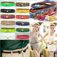 Wholesale Women Lady Bowknot Thin Skinny Belt Fashion Candy Colors Waistband Faux Leather CA01009