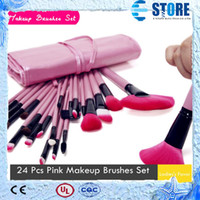 Synthetic Hair wholesale pvc cosmetic bags - 2014 New Professional Makeup Brushes Set kit tool with PVC Bag Pink Color Cosmetic Brushes Brand Fast delivery DHL FREE wu
