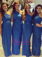 Reference Images Ruched Sleeveless one shoulder bridesmaid dresses 2014 with blue sheath chiffon empire ruched ruffle long prom dresses party gowns homecoming dress BO6064