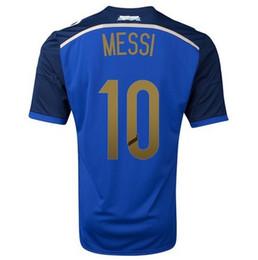 Wholesale Cheap Argentina Football Jerseys - #10 MESSI Away Jerseys Champion Argentina 2014 World Cup Soccer Jerseys Top Thai Quality Soccer Shirts Cheap Football Kits Outdoor Apparel