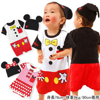 Unisex Summer 100% Cotton 6 sets lot 2014 Brand Newborn Mickey Minnie Mouse Cartoon Romper With Hat Babies Bodysuit Imperial Crown Infant One-piece In Stock Items