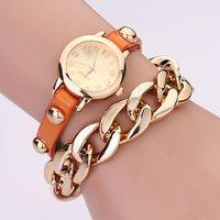 Wholesale 2014 Fashion Brand Leather Quartz Watch Gold plated Metal Chain Dress Bracelet Punk Rivet Wristwatch for Women Girls