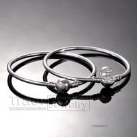Wholesale New Sterling Silver Bangle Bracelet with Snap Clasp for European Charms and Beads