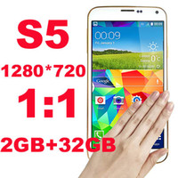 Wholesale HDC S5 I9600 GB GB x720 quot HD Quad Core MTK6582 Android KitKat USB Touch ID Remote G Unlocked Smart Mobile Cell Phone