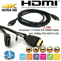 Cable Male-Male(Male-Male) HDTV Wholesale 1.5M High Speed 5FT HDMI V1.4 HDMI 4k HDTV connector converter adapter Cable 1080p for HDTV PS3 LCD Ready HDTV