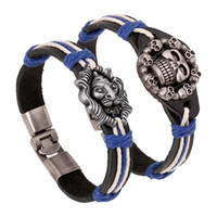 Wholesale Cow leather bracelet Charm Wrap Braided Bracelets Skull Heads Lion heads Bracelets2014New High Quality jewelry sets10