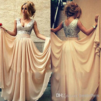 Wholesale 2016 Champagne Chiffon Cheap Prom Dress With V Neck Sequins Sexy backless Sleeveless Party Prom Dresses Gown Ship within Days In Stock