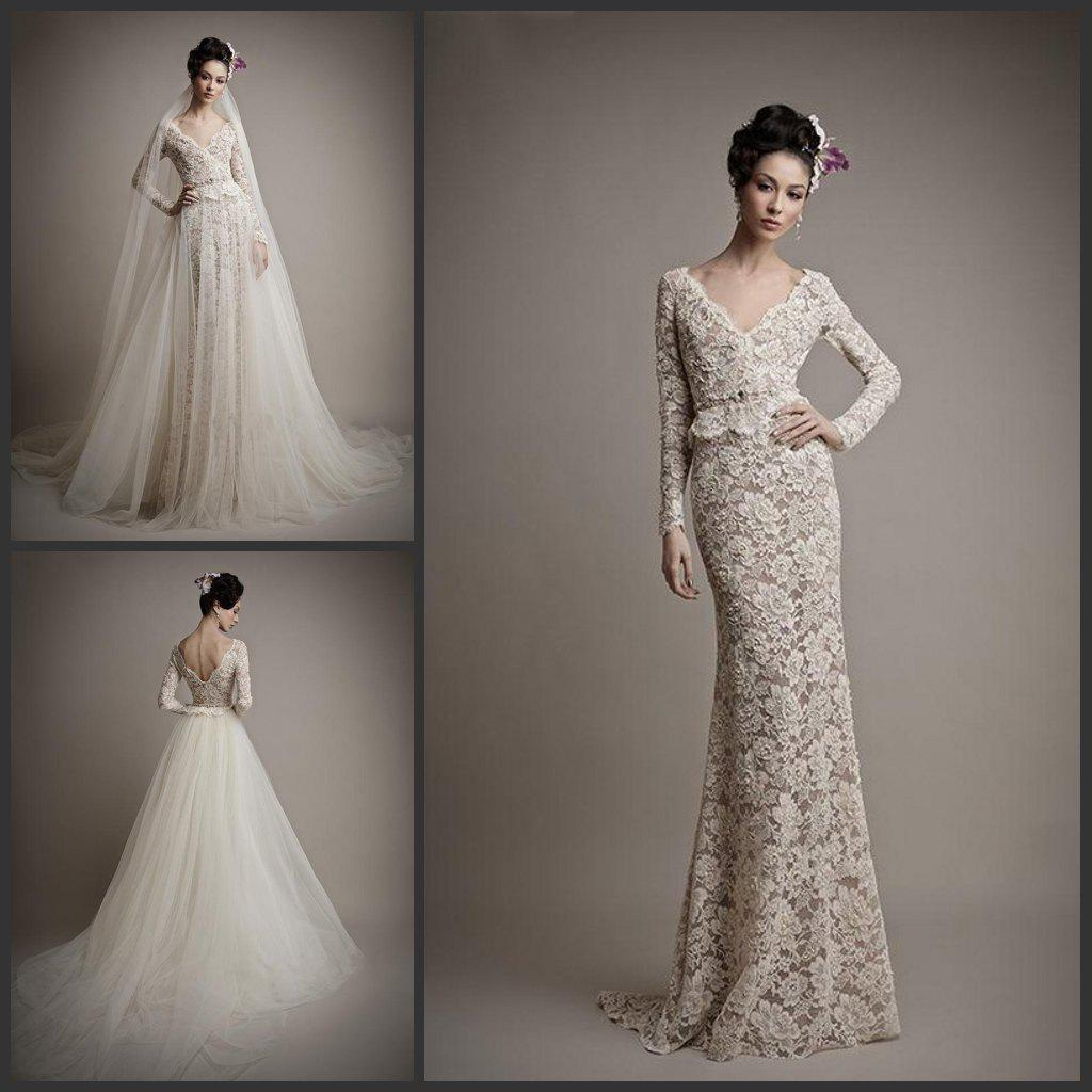 Detachable skirt champagne lace wedding dresses 2015 long for Wedding dress detachable sleeves