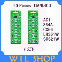 Wholesale tray AG1 SR621SW LR621 LR60 CX60 v battery Card Coin Cell Button Alkaline for watches Calculator torch407