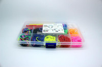 Wholesale Rainbow Loom kit Refill Solid Band Rubber Plastic Box Charm Mother for kids Toys pack band S cilps Hook charm Y Loom