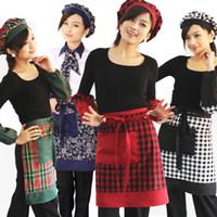 Wholesale New pure cotton gingham plaid apron cotton aprons bust career serving aprons multicolored frock