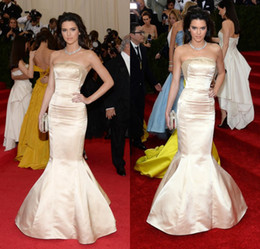 Wholesale Kendall Jenner Cannes Film Met Gala Celebrity Red Carpet Gowns Strapless Champagne Stretch Satin Sexy Evening Dresses Mermaid DL1312757